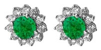 LoveBrightJewelry May Birthstone Emerald with CZ Floral Earrings in 14K White Gold