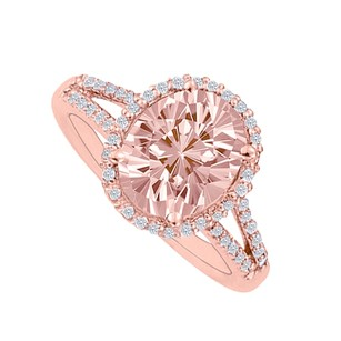LoveBrightJewelry Morganite And Diamonds Split Shank Halo Engagement Ring