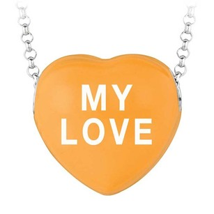 LoveBrightJewelry My Love Orange Heart Pendant Necklace Sweethearts Collection Valentine Day