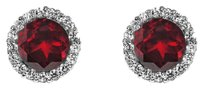LoveBrightJewelry Natural Garnet and CZ Earrings 925 Sterling Silver