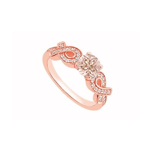 LoveBrightJewelry Natural Morganite And Cubic Zirconia Ribbons Engagement Ring In 14k Rose Gold Jewelry Gift