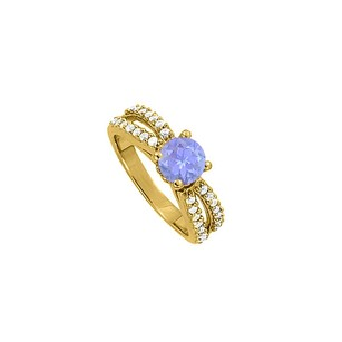 LoveBrightJewelry Newest Tanzanite Split Shank Engagement Ring With Cubic Zirconia 18k Yellow Gold Vermeil