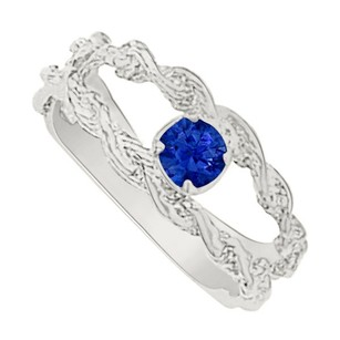 LoveBrightJewelry Nicely Shaped Sapphire Mother Ring in 14K White Gold