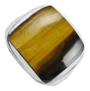 LoveBrightJewelry Noa Sterling Silver Cushion Bezel Set Tiger Eye Ring