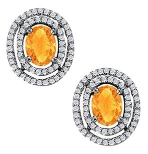 LoveBrightJewelry November Birthstone Citrine Oval Halo Earrings with CZ in Sterling Silver