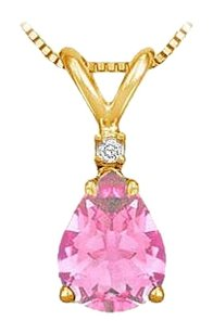 LoveBrightJewelry November Birthstone Pink Topaz Teardrop Pendant with Cubic Zirconia in Gold Vermeil over Silver