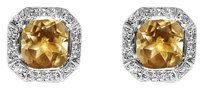 LoveBrightJewelry Octagon Cut Citrine Bezel Set and Round CZ Earrings