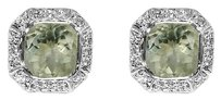 LoveBrightJewelry Octagon Green Amethyst Bezel Set and Round CZ Earrings