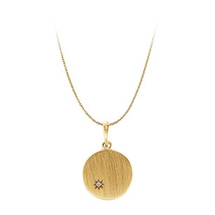 LoveBrightJewelry One Carat CZ Engravable Pendant Necklace Yellow Gold