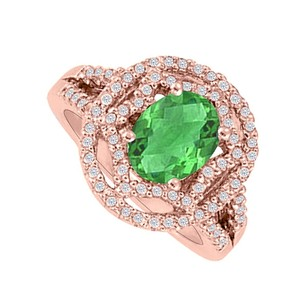 LoveBrightJewelry Oval Emerald Cz Designer Split Shank Engagement Ring