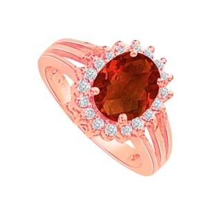 LoveBrightJewelry Oval Garnet And Cz Floral Style Ring Rose Gold Vermeil