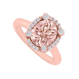LoveBrightJewelry Oval Morganite with Cubic Zirconia Halo Engagement Ring