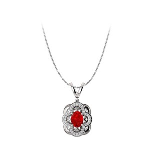LoveBrightJewelry Oval Ruby and Cubic Zirconia Pendant in Sterling Silver