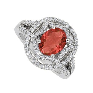 LoveBrightJewelry Oval Ruby And Cz Designer Engagement Ring For Her