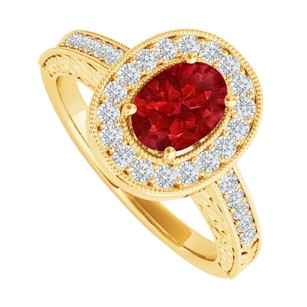LoveBrightJewelry Oval Ruby And Sparkling Cz Halo Engagement Ring For Her