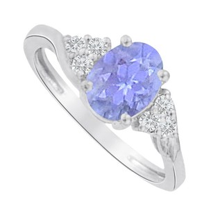 LoveBrightJewelry Oval Tanzanite And Cz Ring In 925 Sterling Silver
