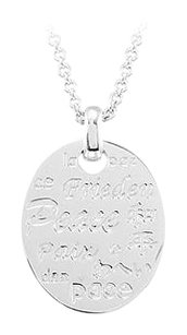 LoveBrightJewelry Peace Necklace with Diamond Sterling Silver Rhodium Plate