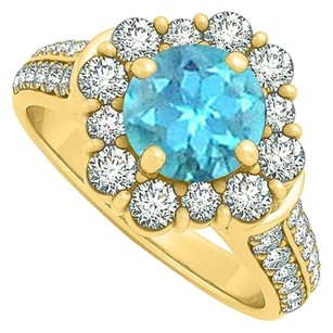 LoveBrightJewelry Perfect Blue Topaz and CZ Halo Engagement Ring 2.00 TGW