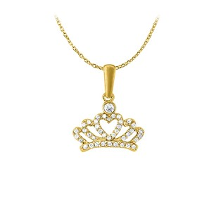LoveBrightJewelry Perfect Jewelry Set Cubic Zirconia Heart Pendant in Yellow Gold