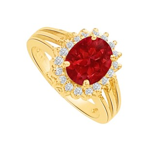 LoveBrightJewelry Perfect Ruby and CZ Split Shank Halo Ring 2.00 CT TGW