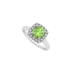 LoveBrightJewelry Peridot And Cz Halo Engagement Ring In Sterling Silver August Birthstone Cool Design Jewelry