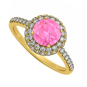 LoveBrightJewelry Pink Sapphire And Cubic Zirconia Double Fashion Halo Engagement Ring In 18k Yellow Gold Vermeil