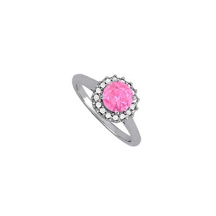 LoveBrightJewelry Pink Sapphire And Cubic Zirconia Halo Engagement Ring In 925 Sterling Silver Great Price Range