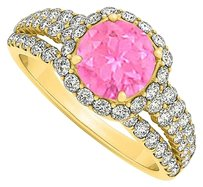LoveBrightJewelry Pink Sapphire and Cubic Zirconia Split Shank Halo Engagement Ring 18K Yellow Gold Vermeil