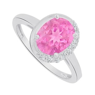 LoveBrightJewelry Pink Sapphire And Cz Engagement Ring In Sterling Silver