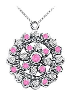 LoveBrightJewelry Pink Sapphire and Diamond Flower Pendant 14K White Gold 0.50 CT TGW