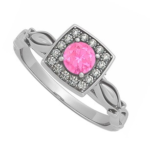 LoveBrightJewelry Pink Sapphire Cubic Zirconia Ring in Sterling Silver