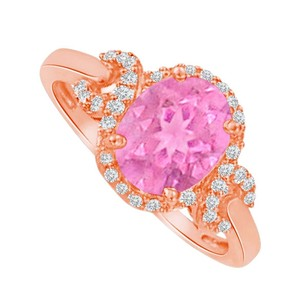 LoveBrightJewelry Pink Sapphire CZ Criss Cross Ring in Rose Gold Vermeil
