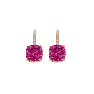 LoveBrightJewelry Pink Sapphire CZ Drop Style Stud Earrings Rose Gold