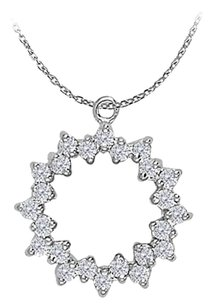 LoveBrightJewelry Precious Diamond Circle Pendant in 14K White Gold