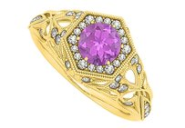 LoveBrightJewelry Pretty Gift Amethyst and CZ Filigree Ring 1.50 TGW