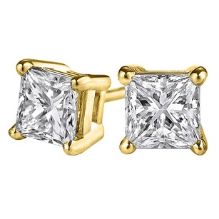 LoveBrightJewelry Princess Cut Diamond Stud Earrings in 14K Yellow Gold