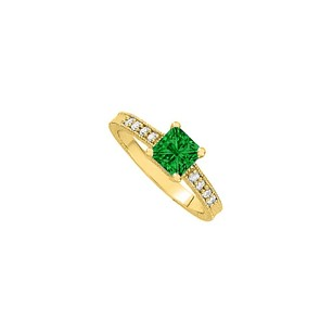 LoveBrightJewelry Princess Cut Emerald With Brilliant Cut Czs On Yellow Gold Vermeil Engagement Ring Great Price