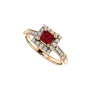 LoveBrightJewelry Princess Cut Ruby and Cubic Zirconia Square Halo Ring