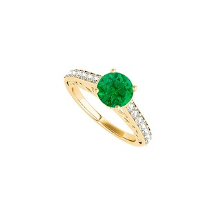 LoveBrightJewelry Prong Set Emerald Cz Ring In 18k Yellow Gold Vermeil