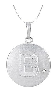 LoveBrightJewelry Rhodium Plating 925 Sterling Silver Block Disc B Initial Pendant Necklace with Cubic Zirconia