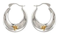 LoveBrightJewelry Rhodium Plating Sterling Silver with 14K Yellow Heart Accent Hoop Earrings Pair 19.5X 17.6 MM