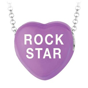 LoveBrightJewelry Rock Star Purple Heart Pendant Necklace Sweethearts Collection Valentine Day