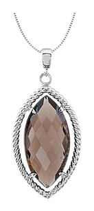 LoveBrightJewelry Rope Design with Marquise Smoky Quartz 18 Inch