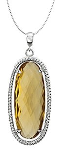 LoveBrightJewelry Rope Style Rhodium Plating 925 Sterling Silver with Oval Honey Quartz 18 Inch Necklace 25X10 MM