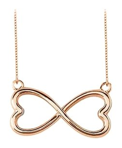 LoveBrightJewelry Rose Gold Vermeil 925 Sterling Silver Heart Infinity Pendant Necklace