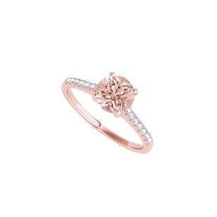 LoveBrightJewelry Rose Gold Vermeil Round Morganite Cz Engagement Ring