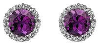 LoveBrightJewelry Round Amethyst and CZ Earrings 925 Sterling Silver