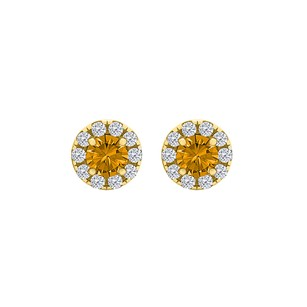 LoveBrightJewelry Round Citrine CZ Halo Stud Earrings 18K Gold Vermeil