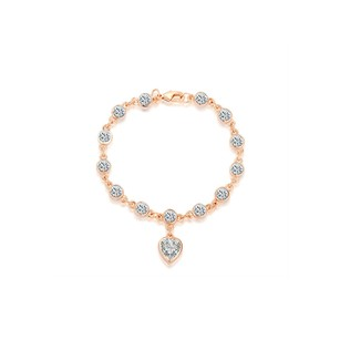 LoveBrightJewelry Round Cubic Zirconia Station Bracelet with Heart Charm