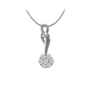 LoveBrightJewelry Round Diamonds Flower Pendant 14K White Gold with Chain